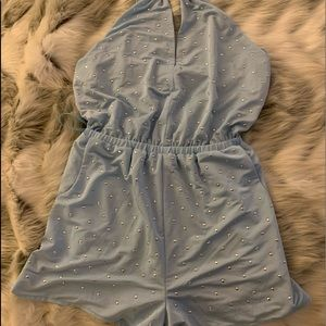 WOW Couture Light Blue Romper, Stud Detail (NWOT)